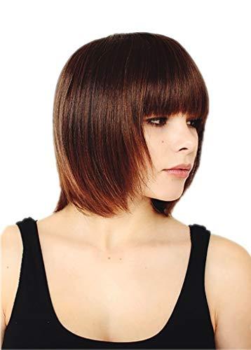 Prettyland corta caschetto BOB taglia frangia capelli veri Parrucca liscia per tutti i giorni Castano Nero C479