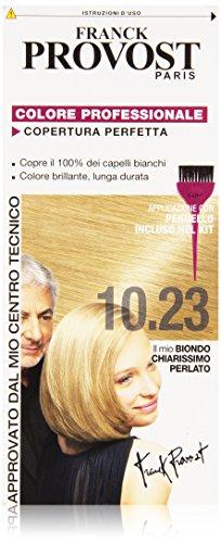 Franck Provost Colorazione Permanente Capelli, Tinta Copertura Ottima, Colore Professionale, 10.23 Biondo Chiarissimo Perlato