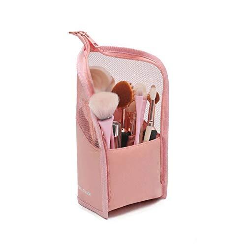 Borsa porta pennelli multifunzione per pennelli da trucco, organizer portatile per penne, matite, astuccio con cerniera, per donne e ragazze (pink)