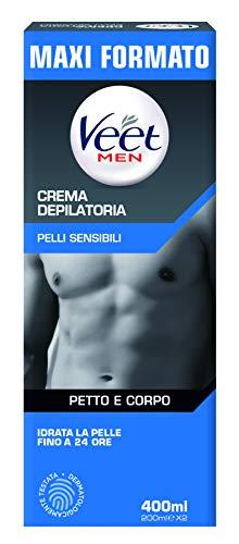 Veet For Men Crema Depilatoria per Uomo Pelli Sensibili, 400 ml, 2 x 200 ml