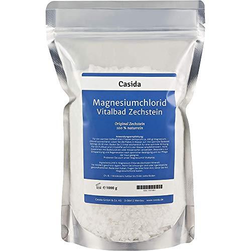 Casida - Magnesio originale Zechstein per Bagno Vitale - puro esaidrato di cloruro di magnesio naturale - per bagno o pediluvio - adatto per olio di magnesio - la qualità delle farmacie - 1000g