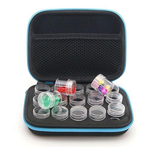 Custodia per pittura a mosaico con 15 bottiglie, in EVA, per nail art fai da te e pittura a diamante, organizer per gioielli, orecchini, collana e collana, scatola di visualizzazione (blu)