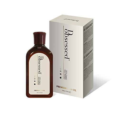 D.obsessed Olio per la pelle Premium - 3 migliori in 1 - Organico Jojoba, rosa canina e vitamina E miscelati - Trattamento naturale per viso, corpo e unghie - Anti-età, idratante e riparatore (100ml)