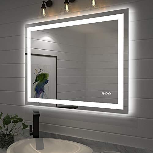Amorho Specchio da Bagno con Controluce LED 700x900mm Rettangolare Specchio da Parete,con Interruttore Touch,antiappannamento,regolabile in 3 colori, luminosità bianco caldo e bianco freddo