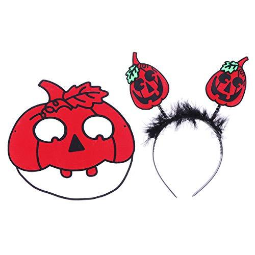 PRETYZOOM Zucca floccante con Foglia di Capelli Hoop Maschera Divertente Rosso Party Supplies