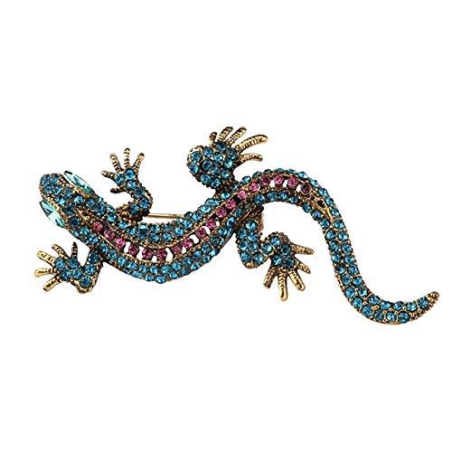 Spille lucertola per donna e uomo Retro cristallo micro-mosaicato Spilla grande animale vintage gioielli femminili