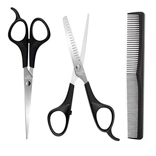 KKmeter Set forbici per capelli Set professionali da parrucchiere per donna, uomo e bambino (3 in 1 Set di forbici da barbiere)