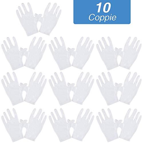 Rovtop 10 paia Guanti Bianchi, Guanti Cotone per Ispezione Pulizia di Monete, Gioielli, Argenterie o Controllo di Foto, più comodi e traspiranti