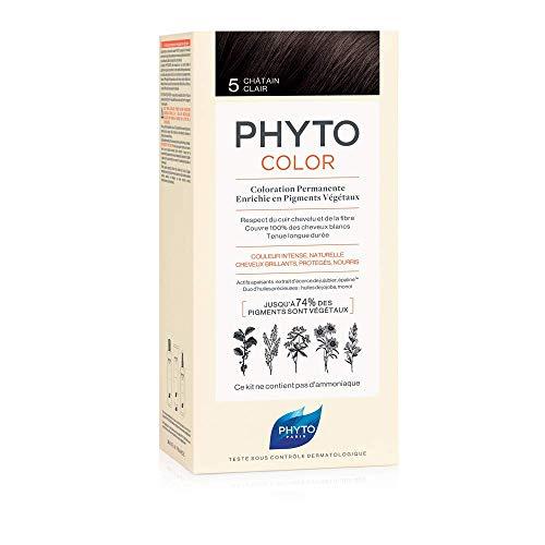 Phyto Phytocolor 5 Castano Chiaro Colorazione Permanente senza Ammoniaca, 100 % Copertura Capelli Bianchi