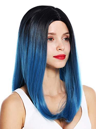 WIG ME UP - 1362-4330/2913 Parrucca donna Lunga Liscia Riga in mezzo Ombre hair Nero Blu