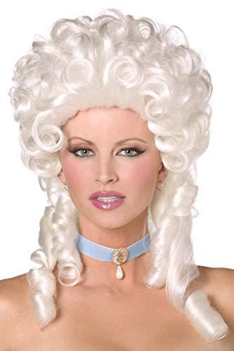 Smiffy's-Parrucca barocca, bianca, lunghezza spalle con boccoli Donna, Taglia unica, 42122
