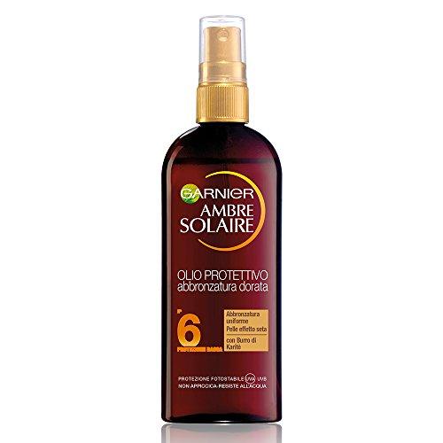 Garnier Ambre Solaire Protezione Solare, Olio Protettivo Abbronzatura Dorata con Burro di Karitè IP6, Protezione Bassa, 150 ml