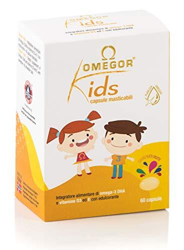 Omegor Kids capsule   250mg di omega-3 DHA per bambini   Squisite capsule morbide, in gelatina di pesce, dolcificate e masticabili   Gusto tutti i frutti, 60 cps
