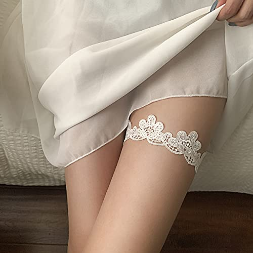 Sttiafay Reggicalze da sposa in pizzo per la sposa da donna Sexy giarrettiere elasticizzate in pizzo floreale Set anello per le gambe Accessori per il corpo da ballo Regali per donne e ragazze