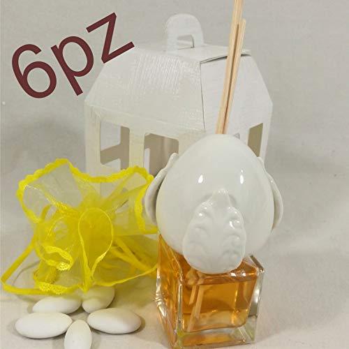 Kit da 6 profumatori per ambiente pumo in ceramica con fragranza gialla alla vaniglia