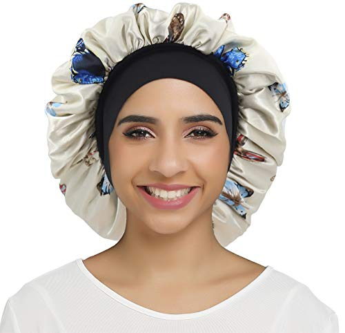 SENGTERM Berretto in seta da donna con pelo lungo, doppio strato di raso, morbido berretto da notte con ampia fascia elastica per dormire, cancro, chimico (normale, farfalla)