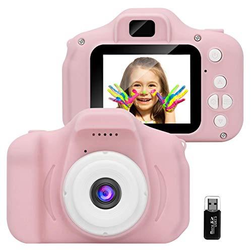 GlobalCrown Fotocamera Bambini,Mini Ricaricabile Fotocamera Digitale per Bambini Videocamera Regali per Ragazze Ragazzi da 3-8 Anni,8MP Video HD Schermo da 2 Pollici (Scheda 32 GB Inclusa)