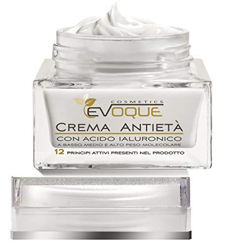 Crema Viso Antirughe con Acido Ialuronico Puro - Crema Idratante Bio Uomo Donna, Made in Italy, 50ml