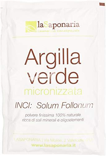 LA SAPONARIA - Argilla Verde - Ideale per il Trattamento di Pelle Grassa e Mista - Ideale per la Pelle Sensibile e Irritata - Effetto Lenitivo - Azione Sebo-regolante - Vegan - 100 g