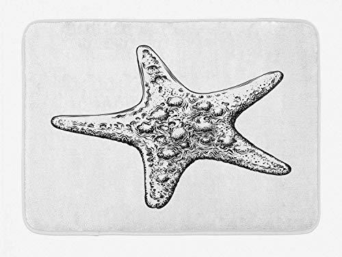 Tappetino da bagno vintage per tatuaggio nautico, schizzo monocromatico disegnato a mano con motivo a stella marina, stuoia per arredo bagno in peluche con schienale antiscivolo, antracite e bianco