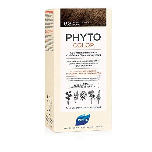 Phyto Phytocolor 6.3 Biondo Scuro Dorato Colorazione Permanente senza Ammoniaca, 100 % Copertura Capelli Bianchi