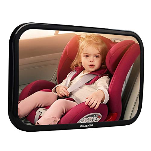 Akapola Specchietto Retrovisore Bambini, Specchio Auto Bambino, Specchietto Regolabile Neonato, Rotazione Flessibile 360 °, Superficie Curva per Un'ampia Visuale, Anti-Oscillation