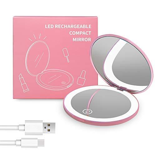Wobsion LED specchio compatto ricaricabile specchietto da borsetta specchio viaggio specchio tascabile specchio con ingrandimento 1X/10X sspecchietto da borsa con luce regolabile specchio regali(rosa)
