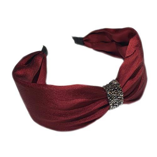 Yinuneronsty - Cerchietto per capelli da donna, in finta seta, con strass annodati, tinta unita, per lavaggio viso, antiscivolo Bordeaux
