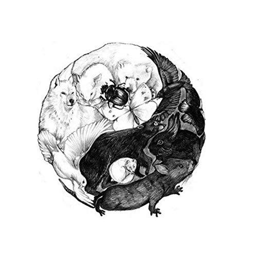 Just Fox – Tatuaggio temporaneo Yin e Yang Animali Design Temporary Klebetattoo Corpo Arte