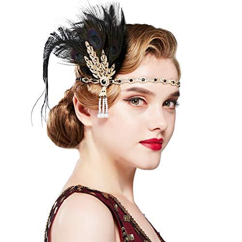 Coucoland - Fascia per capelli con piume e strass, modello da donna, stile anni '20, stile Charleston, accessori costumi Pavone nero. Taglia unica