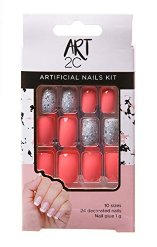 Art 2C, set di unghie finte con colla, facili da rimuovere, 24 unghie decorate, 10 misure, glitter rosa e argento 039