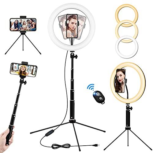 10.2' Ring Light Telefono, Luce ad Anello LED con Treppiede per Selfie, Ringlight da Tavolo Alta con Telecomando Wireless, Lampada Anulare Regolabile per TikTok, Trucco, Fotografia, Youtube e Video
