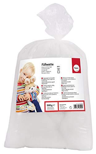 Rayher 30195000 imbottitura ovatta soffice, ovatta fioccata, riempimento cuscini, peluche, bomboniere, 100% poliestere, colore bianco
