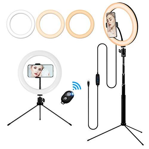 Luce LED a Cerchio con Porta Telefono e Stativo Treppiede, 10in Ring Light da Tavolo/Alta 3 Modalità e 10 Luminosità, Lampada Anello con Telecomando Wireless per Tik Tok,Selfie,Foto,YouTube Video