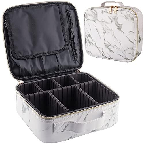 Frasheng Make Up Bag,Borsa da viaggio impermeabile,Borsa per Cosmetic,organizer per cosmetici,Grande Porta Trucchi da Viaggio,con scomparti staccabile,divisorio regolabile,Pelle Marmorizzata,Bianca