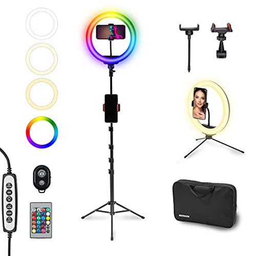 BUONSON Set Professionale Ring Light LED 26cm con 15 Colori RGB Luce ad Anello con 2 Treppiedi Estendibili 2 Supporti Telefono Borsa e 3 Telecomandi Tik Tok Selfie Foto Video Trucco