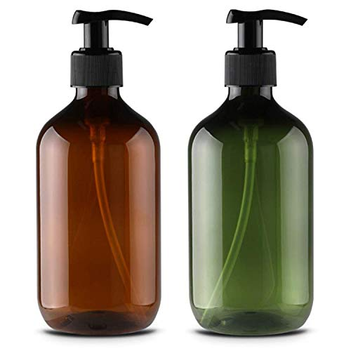 Alledomain, 2 flaconi vuoti da 500 ml, ricaricabili, in plastica, per lozioni, shampoo, crema, gel doccia, gel da toeletta, dispenser per liquidi (marrone e verde)