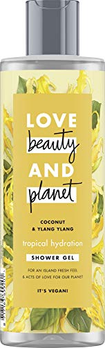 Love Beauty and Planet Tropical Hydration Gel doccia per pelle secca, olio di coconut & Ylang Ylang Flower senza parabeni, 1 pezzo (400 ml)