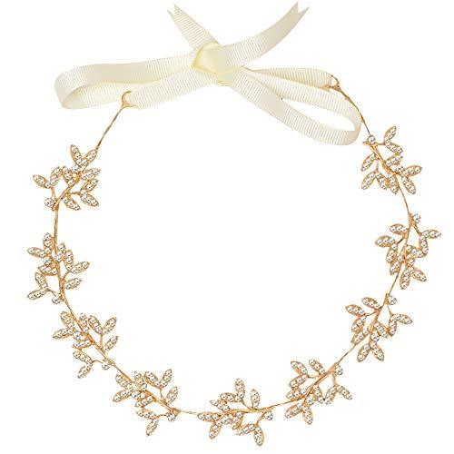 ArtiDeco - Accessorio per capelli da sposa, con brillantini, accessorio per acconciature da damigella nuziale, con foglie e motivo floreale con strass