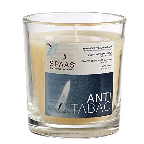 Spaas - 12 candele anti-tabacco, in vetro trasparente, ± 25 ore, colore: Avorio