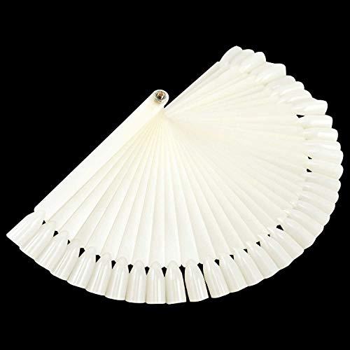 TRIXES Espositore bianco a ventaglio con 50 bastoncini con unghie finte per decorazione unghie, applicazione smalto, pratica