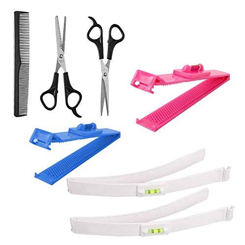 7 pezzi Utensili da taglio per capelli, Utensile da taglio professionale per capelli domestici Kit per lo styling del trimmer domestico fai-da-te per frangia a strati, bobine, finiture doppie