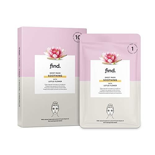FIND - Maschera hydrogel lenitiva in fogli, con fiori di loto, confezione da 10