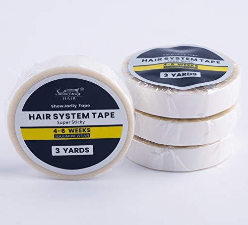 ShowJarlly 1 Roll Nastro biadesivo adesivo con supporto in pizzo frontale Nastro bianco per parrucca anteriore in pizzo (Nastro bianco 1.0cm*3yards)