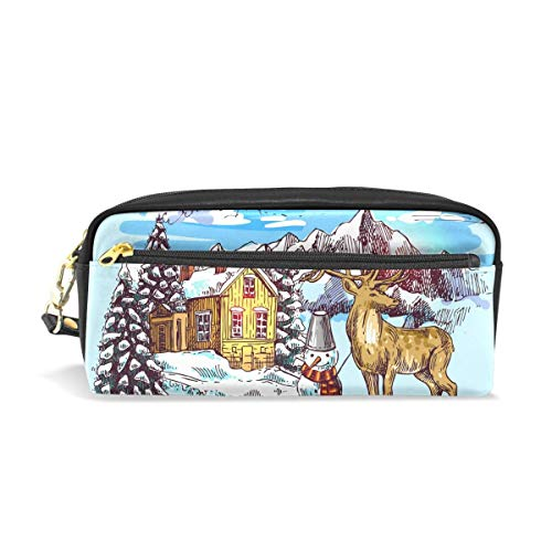 Pupazzo di neve invernale Deer Forest Leather Student Pencil Case Pen Cosmetic Bag for Girls Makeup Pouch