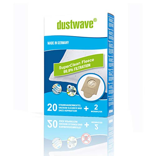 dustwave® - 20 sacchetti per aspirapolvere Rowenta RO3953EA Compact Power, RO3950 RO3980, RO 3950 Parquet, RO 3980 Animal Care, Silence Force Compact, in alternativa a ZR200520