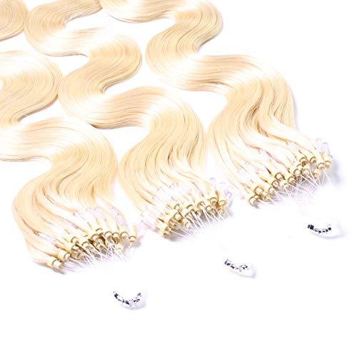 Hair2Heart 25 x 0.5g Microring Loop Extension Capelli Veri - 40cm - Ondulato, Colore #60 boindo platino