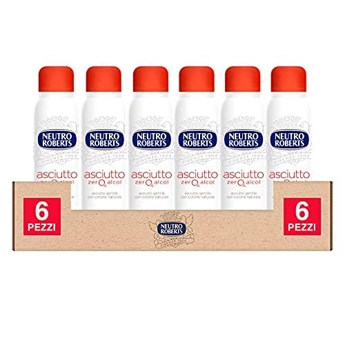 6x Neutro Roberts Deodorante Spray Asciutto Zero Alcol Efficace 48h Profumo Legno Sandalo e Patchouli - 6 Flaconi da 150ml ognuno