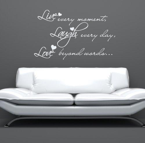 LIVE LAUGH LOVE V2 muro adesivo citazione DECALCOMANIA GRAFICA MURALE VINILICA TATUAGGIO - Argento Lucido