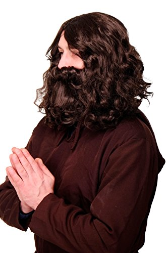 WIG ME UP- Parrucca e Barba Folta, da Carnevale, Profeta, Guru, Gesù, Hipster, Troll, Uomo Primitivo, Castano, WIG005-HK5
